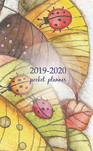 2019-2020 Pocket Planner: 2 Year Pocket Monthly Calenda Planner  Schedule Organizer Appointment Journal Notebook 4 x 6.5 inch And ladybugs sitting on leaves painted in watercolor in the boho ()