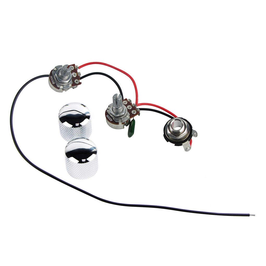 FidgetGear PB Bass Prewired Wiring Harness Kit 2 Pots & 1 Jack & 2 Knobs for Precision Bass does not apply