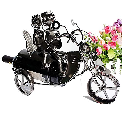TTW Couples Motorcycles to Send Wine Racks Furniture Ornaments Ornaments Iron Racks Wine Bottle Holder Wine Container Home Decor Iron Craft Gift Handicraft Ornament