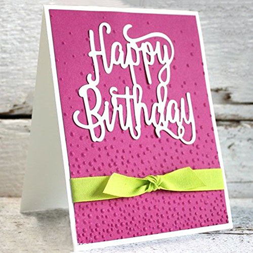 Bluelans Cutting Dies Stencil Metal Mould Template for DIY Scrapbook Album Paper Card Making (Happy Birthday Cutting - Happy Birthday Templates