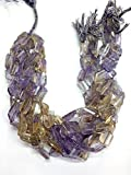 Brand New Stock, Full 13 Inch Strand, AAA Quality Rare Ametrine Step Cut Faceted Nuggets Briolettes,15X22,15X25 mm,Superb Item at Low Price