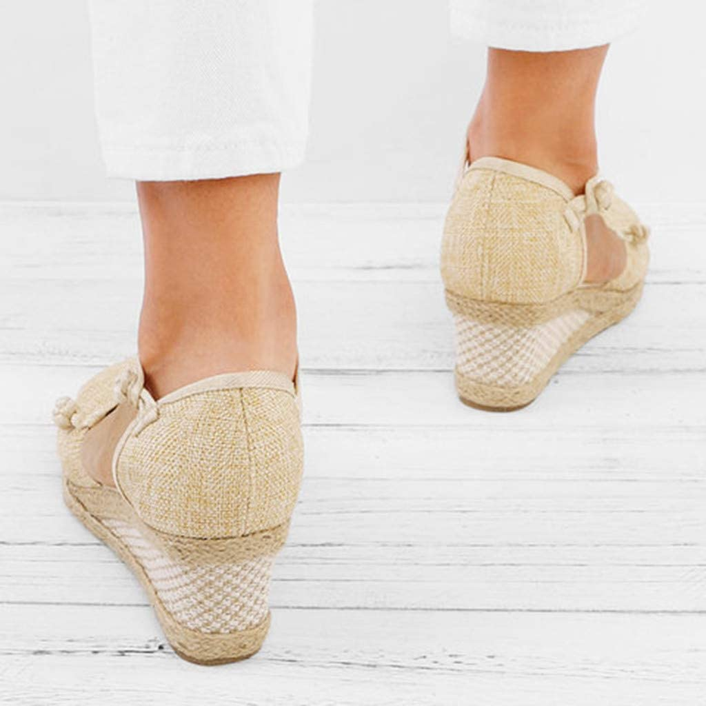 Womens Slip On Sandals,Ladies Retro Linen Canvas Round Toe Comfort Breathable Casual Shoes