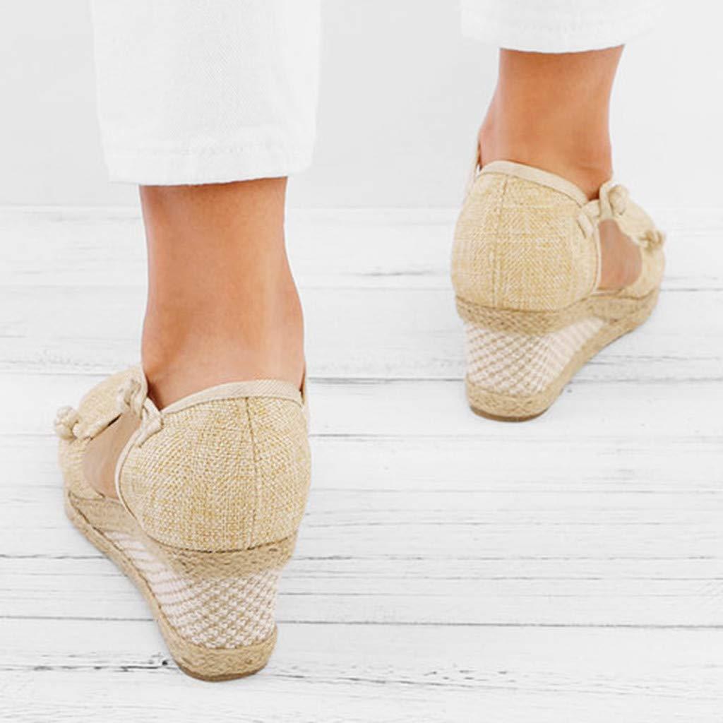 Sandalias Mujer Verano 2019 Planas Se/ñOras Lino Lino Retro Cu/ñA Punta Redonda Casuales Zapatos Solteros