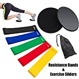 Rantizon Resistance Bands and Sliders Gliding Discs Core Sliders and Exercise Resistance Loop Bands, Set of 5 Natural Latex Workout Bands, Abdominal Exercise Equipment, Fitness/Stretch/Yoga/Pilates