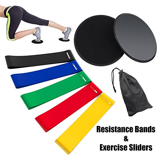 Resistance Bands and Sliders – Rantizon Gliding Discs Core Sliders and Exercise Resistance Loop Bands, Set of 5 Natural Latex Workout Bands, Abdominal Exercise Equipment, Fitness/Stretch/Yoga/Pilates