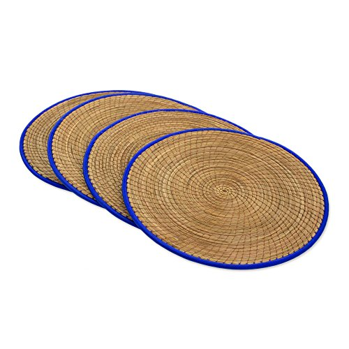 NOVICA Blue and Brown Hand Woven Natural Fiber Placemats, 'Latin Mealtime In Blue' (Set of 4)