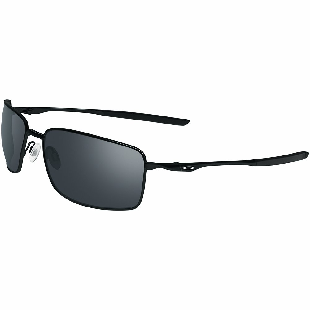 Oakley Men's OO4075 Square Wire Rectangular Metal Sunglasses, Polished Black/Black Iridium, 60 mm by Oakley