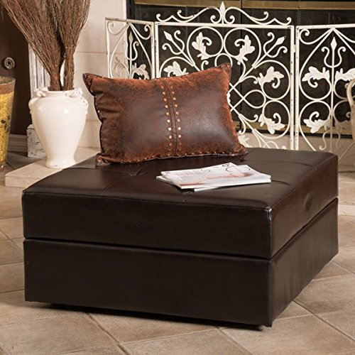 Burlington Brown Bonded Leather Storage Ottoman by Christopher Knight Home by Christopher Knight Home
