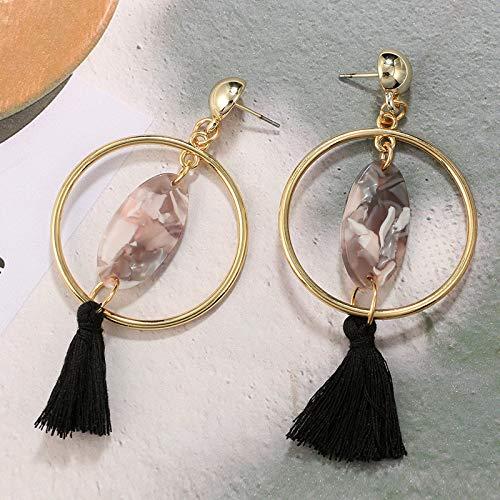 Beach Wedding Wedding Earrings Large Bridesmaid Gift Hoop Earrings Tassel Earrings with Circles