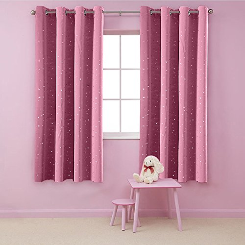 AiFish Grommet Shiny Star Blackout Curtains Panels 2 Panels Set Room Darkening Short Window Treatment Drapes Thermal Insulating Curtains for Bedroom Kids Room Set of 2 Pcs Hot Pink W39 x L47 inch