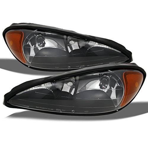 For Pontiac Grand AM Coupe/Sedan Replacement Headlights Driver/Passenger Head Lamps Pair New Black
