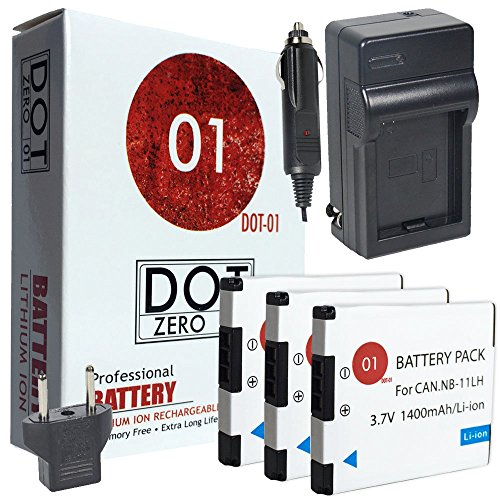 3x DOT-01 Brand Canon SX420 IS Batteries and Charger for Canon SX420 IS Camera and Canon SX420 IS Battery and Charger Bundle for Canon NB11L NB-11L