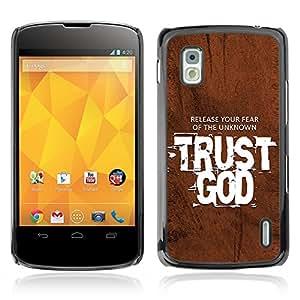 Paccase / Dura PC Caso Funda Carcasa de Protección para - BIBLE Trust God - Release Your Fear - LG Google Nexus 4 E960