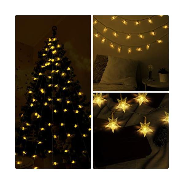 HOMVAN Catene Luminose 50 Stelle 7.5M Batteria Alimentata LED Luci Illuminazione Decorativa Ideale per Albero di Natale Halloween Matrimonio Decorazione della stanza Party Giardino(bianco caldo) 5 spesavip