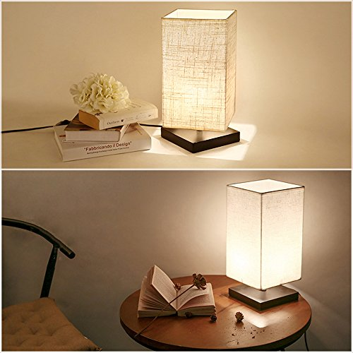 cavogin minimalist romantic solid wood table lamp with flaxen fabric shade be. Black Bedroom Furniture Sets. Home Design Ideas