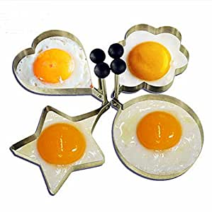 4pcs/lot Stainless Steel Omelette Mould , Round Flower Heart Shape Biscuit Egg Mold Cooking Tools Kitchen Gadgets New