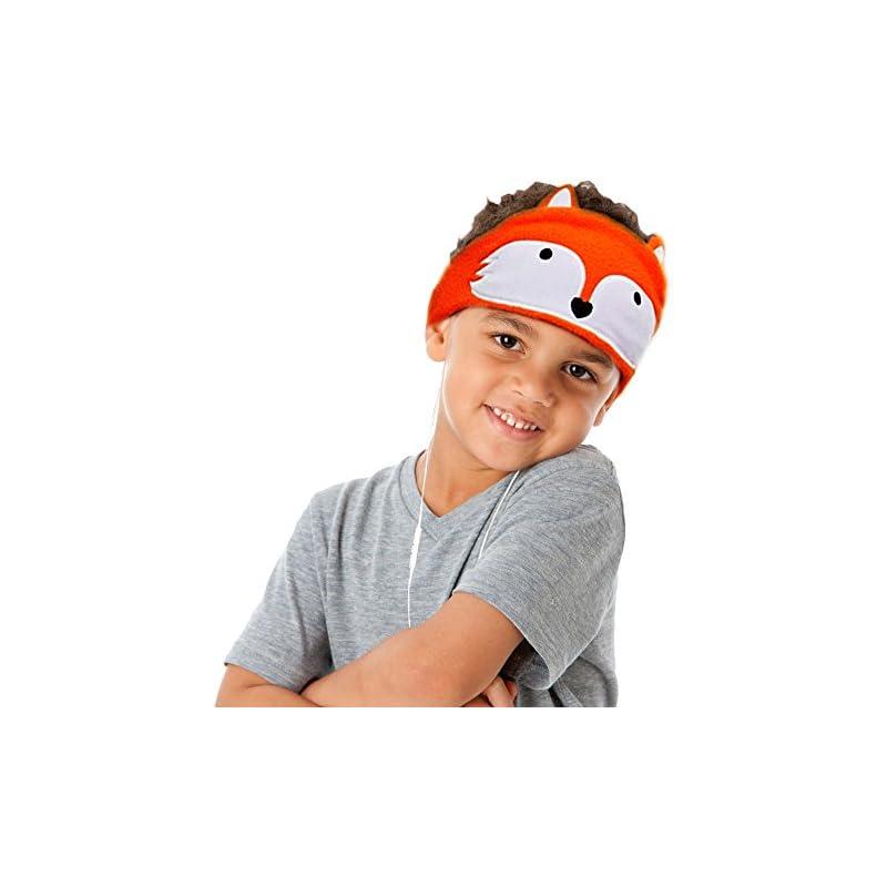 Kids Headphones, Volume Limiting Ultra Thin Adjustable Speakers Soft Children Fleece Headband Toddler Headphones Home Travel - Fox