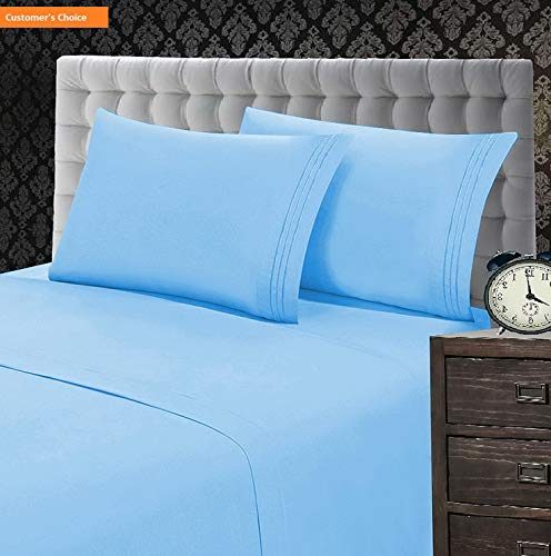 Mikash New Soft 1500 Thread Count Wrinkle & Fade Resistant 5-Piece Egyptian Quality Softness Bed Sheet Set, Deep Pocket Up to 16inch Split King Aqua | Style 84599315