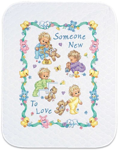 (Dimensions Baby Hugs 'Someone New' Quilt Stamped Cross Stitch Kit)