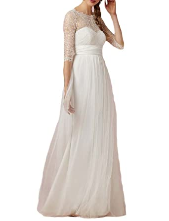 OYISHA Womens Elegant Lace A-Line Wedding Dress With Half Sleeves Ivory 2