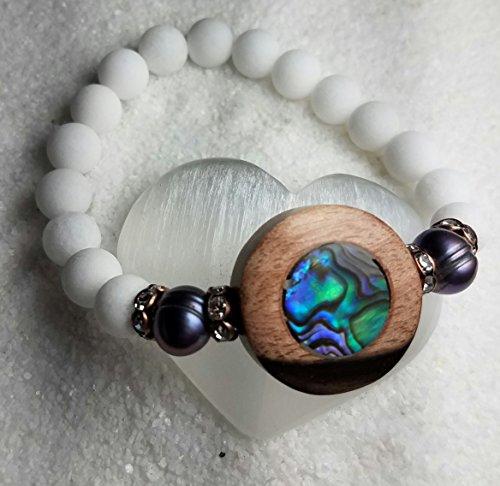 By the Sea Bracelet. Abalone and Pearl Bracelet. Matte White Jade Bracelet. Stretch Bracelet. Stack Bracelet. Purple Pearl Bracelet. Sea Shell Stretch Bracelet. Beach Boho Bracelet. (Cultured Pearl Jade Bracelet)
