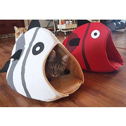 Petgrow Novelty Cat Bed House Decorative Fish Shaped Large Size, Cozy Comfy Pet Bed Cave for Cats Small Dogs, Kitten Puppy Cute Bed Cuddle,Beige by Petgrow (Image #5)