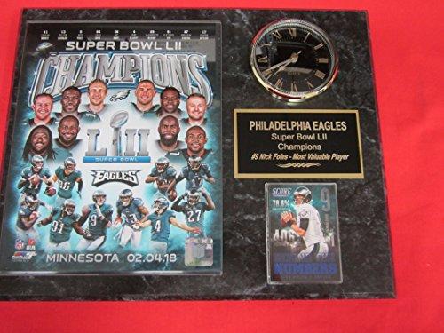 (Eagles SUPER BOWL LII CHAMPIONS Clock Plaque w/8x10 Photo and Card)