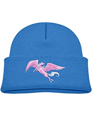 Kids Knitted Beanies Hat Pink Pegasus Winter Hat Knitted Skull Cap for Boys Girls Pink
