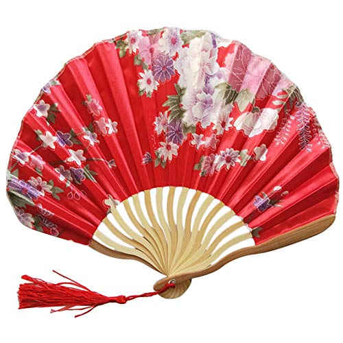 Iuhan  Hand Held Fans for Women Men Chinese Flower Style Silk Bamboo Folding Fans Handheld Folded Fan for Church Wedding Gift, Party Favors, DIY Decoration (C)