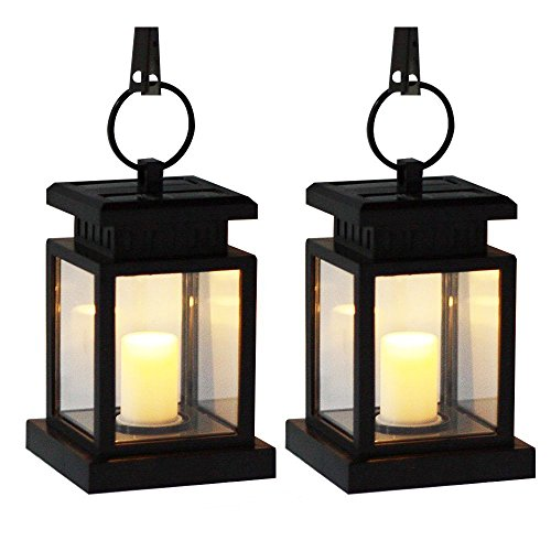 Semate Life Solar Umbrella Lantern Light, Hanging Outdoor Waterproof Security Candle Lamp, Realistic Flickering Famless Yard Patio Garden Lawn Pathway Hiking Camping - Pack of Two (8 Light Outdoor Hanging Lantern)
