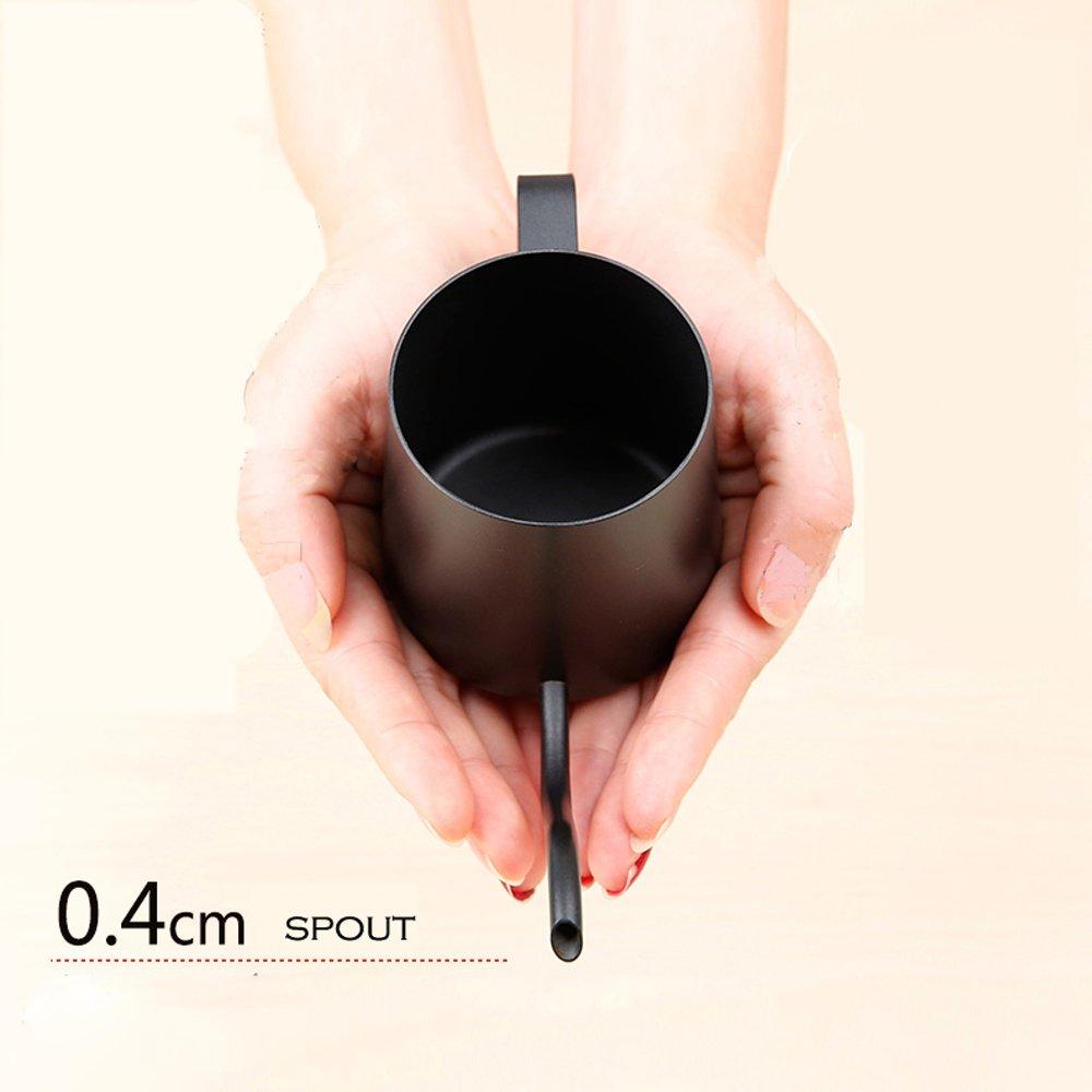 TAMUME 350ML 4MM Piccolo Becco Drip bollitore Teflon Rivestimento per Drip Coffee Birra di Gocciolamento il Bollitore-Pentola di Acciaio Inossidabile 304 - Nero