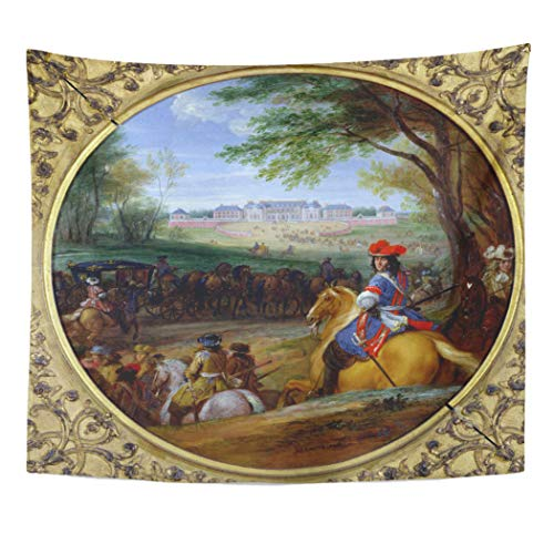 Semtomn Tapestry Artwork Wall Hanging Adam View of The Palace in Frans Van Meulen 60x80 Inches Home Decor Tapestries Mattress Tablecloth Curtain Print -