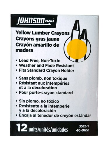 Johnson Level & Tool Lumber Crayons Yellow 12-Pack #3512-Y by Johnson Level & Tool