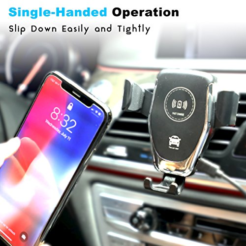 Fast Wireless Car Charger - Qi Wireless Charger Car Mount and Phone Holder for Car - 10W Wireless Charger for Samsung Galaxy S9/S9+/S8/S8+ and Apple iPhone X/8 and Qi Enabled Devices   Drive Safe by Axion (Image #4)
