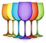 Multi Color Wine Glasses - 19 oz. set of 6- Additional Vibrant Colors Available (Multi-Color)