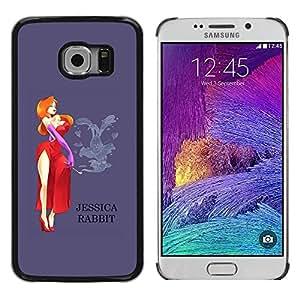 rígido protector delgado Shell Prima Delgada Casa Carcasa Funda Case Bandera Cover Armor para Samsung Galaxy S6 EDGE SM-G925 /Lady Cartoon Character Red Dress/ STRONG