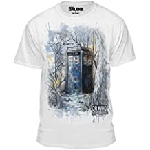 Dr. Who Doctor Who and The Daleks Sketch Tardis In The Petrified Forest Men's T-Shirt, White