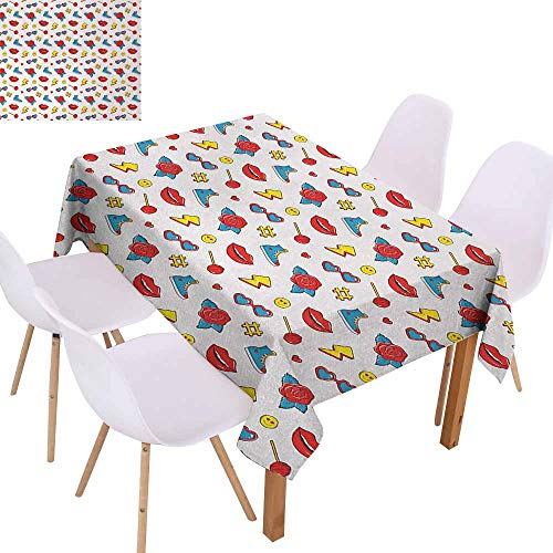 UHOO2018 Emoji,Restaurant Table Cloth,Hipster Pop Art Theme 90s Fashion Comic Book Figures Lollipop Shoes Lips Roses,for Family Gathering Party,Yellow Red Blue,70