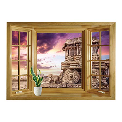SCOCICI Peel and Stick Fabric Illusion 3D Wall Decal Photo Sticker/Home Decor,Old Historic Ruins Carving with Ivy Patterns at Sunset Indian Mystic Sky Picture Wall Art,Cream Blue/Wall Sticker Mural -