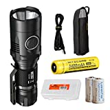 Nitecore MH20GT 1000 Lumens USB Rechargeable Long Throwing CREE XP-L HI V3 Flashlight with 3400 mAh 18650 Li-ion Battery, Battery Organizer and 2xCR123A Batteries