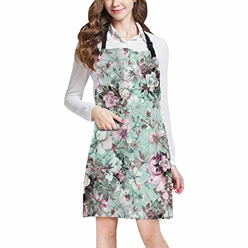 - InterestPrint Watercolor Beautiful Bouquet Of Roses Flowers Chef Kitchen Apron, Adjustable Strap & Waist Ties, Front Pockets, Perfect for Cooking, Baking, Barbequing, Large Size