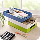 Chris-Wang 1Pcs Stacking Hard Plastic Desktop Collection Front-Load File Letter Tray Home Sundries Organizer Bin Holder, A4 / Letter Size (Blue)