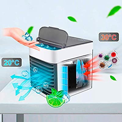 MKYUHP Air Cooler, No Water-Leak Portable USB Air Conditioner Fan with Air Cooler, Humidifier, Purifier,Mini 7-Color Fashion Personal Space Cooler Desktop Fan for Office Household Outdoors