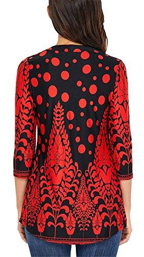 Lache Chemise Femme 4 Shirt YOGLY et Femme Tunique Tops Manche Chic 3 Blouse Rouge T Imprim Casual Fleur Pqqwd0Op