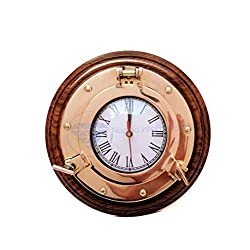 Premium Nautical Porthole Brass Time's Clock On Solid Wood Base | Wall Decor | Pirates Maritime Gift | Nagina International (10 Inches)