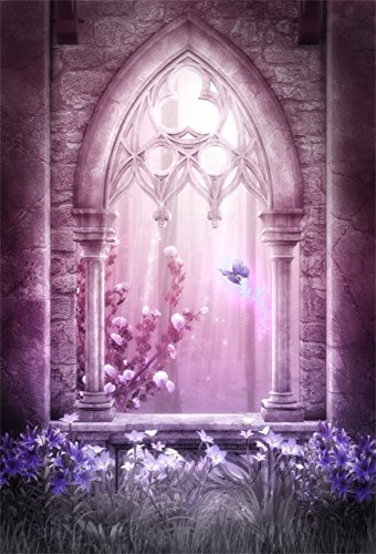 AOFOTO 5x7ft Fairyland Archway Backdrop Vintage Garden Photography Background Dreamy Sweet Flowers Girl Lovers Lady Kid Artistic Portrait Wedding Photo Shoot Studio Props Video Drop Wallpaper Drape