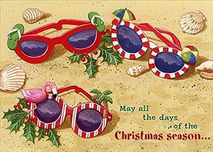 red farm studios festive sunglasses in sand box of 18 tropical christmas cards - Tropical Christmas Cards