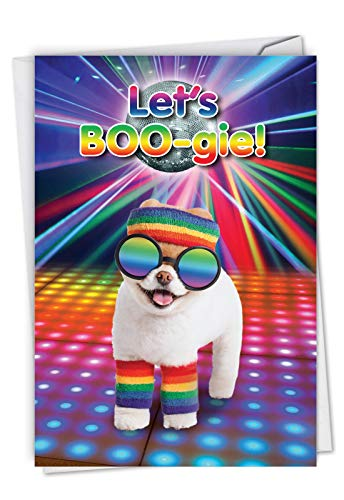 Let's Boo-gie - Humorous Dog Happy Birthday Card with Envelope (4.63 x 6.75 Inch) - Stationery for Birthdays, Retro Disco Party Dog - Cute Animal Bday Appreciation Card for Kids, Adults C6868BDG (Birthday Card Singing)