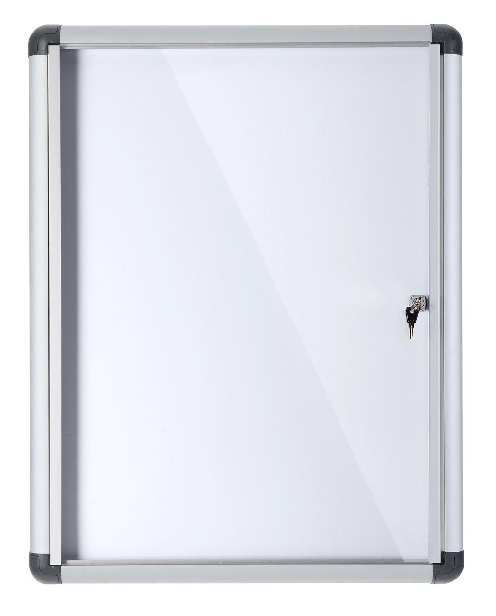 Bi-Office Bacheca Enclore Extra, Superficie Magnetica In Acciaio Laccato, Bacheca Con Anta Battente Per Interni in Alluminio, Verticale 4 x A4 Bi-Silque VT610109690