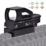 Beileshi Red & Green Dot Sight 4 Reticles Reflex Sight New Design ON & OFF Switch with 20mm Rail Mount